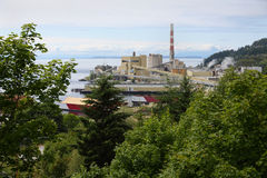 Powell River Mill, British Columbia. A pulp mill on the shore of Georgia Strait. Powell River, British Columbia, Canada Stock Images