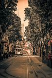 Powell Street in San Francisco. Powell Street near the turntable on Market Street. The San Francisco cable car system is the world`s last manually operated cable Royalty Free Stock Image