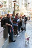Powell street, San Francisco, United states - Tourists are waiting for Cable Car Tram Powell-Hyde, royalty free stock photo