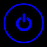 Power. A blue power button on a black background Stock Image