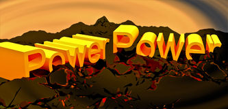 Power. Volume inscription power with swirl background and breaking up base Stock Image
