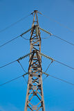 Power. Transmission lines and tower on blue sky background Stock Images