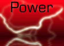 Power. Abstract of Power on red background with lighting and reflection off water Stock Photos