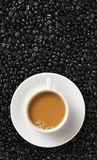 Power on. Conceptual coffee with cup, top view Stock Photo