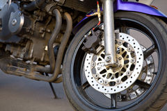 Power. Closeup image of bike (brake,wheel,engine Stock Images