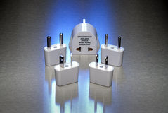 Power adapters for worldwide use Royalty Free Stock Photo