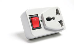 Power Adaptor with Switch. On White Background stock images