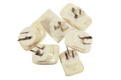 Power Adaptors. On White Background Stock Photos