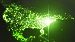 Power of america, energy beam on washington. dark map with illuminated cities and human density areas. 3d illustration. Power of america, energy beam on royalty free illustration