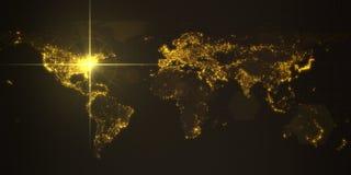 Power of america, energy beam on washington. dark map with illuminated cities and human density areas. 3d illustration. Power of america, energy beam on vector illustration