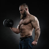 Power athletic bearded man in training pumping up muscles with d. Strong bodybuilder with six pack, perfect abs, shoulders, biceps, triceps and chest. Power Royalty Free Stock Image