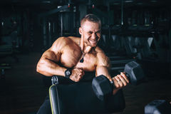 Power athletic guy bodybuilder, execute exercise with dumbbells, in dark gym Stock Photo