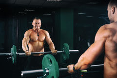 Power athletic guy bodybuilder working out biceps with barbell in front of mirrors, in dark gym Royalty Free Stock Photo
