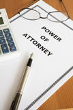 Power of Attorney. Image of a power of attorney on an office table Royalty Free Stock Images