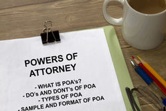 Power of attorney. Concept- with coversheet of a lecture royalty free stock photo