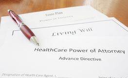 Power of Attorney, Living Will and Estate plan. Healthcare Power of Attorney, Living Will, and Estate Plan documents stock photos