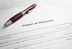 Power of Attorney paper. Power of Attorney legal document and pen stock images