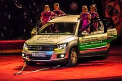 The power of attraction-moving car on the circus arena without the aid of hands Royalty Free Stock Photos