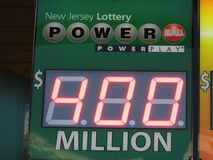 Power ball lottery sign with 400 Million jack pot in NJ. 2016, USA. Г. Royalty Free Stock Photo