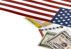 Power ball Lottery Tickets with US Flag and Currency Stock Image