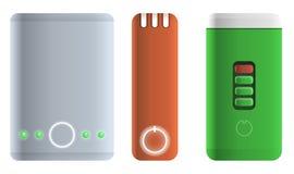 Power bank icons set, cartoon style stock illustration