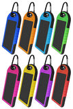 Power bank with a solar panel - colorful. Colorful portable solar chargers for smart phone isolated on white Stock Photos