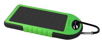 Power bank with a solar panel - green Royalty Free Stock Image