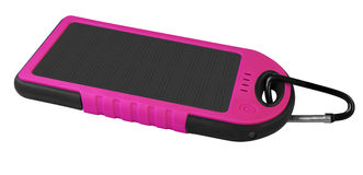 Power bank with a solar panel - pink Stock Image