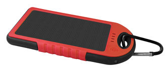 Power bank with a solar panel - red Stock Images