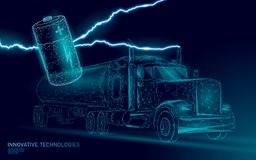 Power battery electric truck low poly.Rechargeable ecological environment green transport business trailer. Fast speed. Semi-trailer perspective view on highway stock illustration