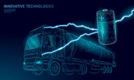 Power battery electric truck low poly.Rechargeable ecological environment green transport business trailer. Fast speed. Semi-trailer perspective view on highway royalty free illustration