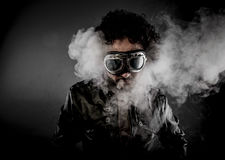 Power, biker with sunglasses era dressed Leather jacket, huge sm Royalty Free Stock Photography
