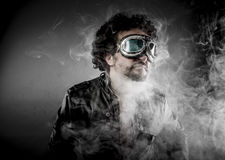 Power, biker with sunglasses era dressed Leather jacket, huge sm Stock Images