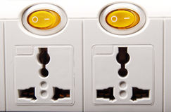 Power board close-up. Close-up of 2 outlets portable power extension board Royalty Free Stock Photography