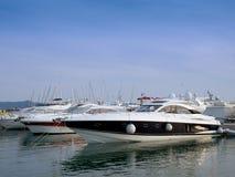 Power boat. In marina. Luxury boats stock image
