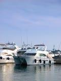 Power boat. In marina. Luxury boats royalty free stock photography