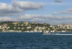 Power boat in Bosphorus. Power boat speeds along Bosphorus royalty free stock photography