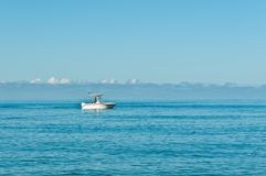 Power boat, trolling in the Gulf of Mexico with a male steering and fishing. Front view, long distance of a power boat, trolling in the calm, troopical, waters royalty free stock photography