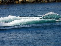 Wake and wash from a power boat. Power boat wake from motor background no boat royalty free stock photos