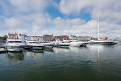 Power boats in the harbor in Helsinki stock photography