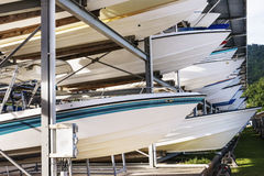 Power boats sheltered parking facility marina in Trinidad Stock Photo