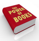 The Power of Books Words on Book Cover Importance Reading. A red book cover with the title words The Power of Books to illustrate the importance of reading and Stock Photos