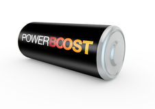 Power boost on a battery. 3d render concept of boosting energy levels Royalty Free Stock Photography