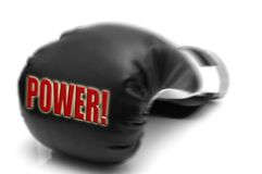 POWER - boxing glove. A boxing glove and text: power Royalty Free Stock Photos