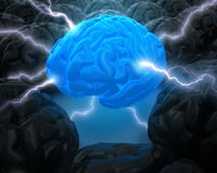 The Power Of Brain. Concept of leadership. The brain in the center, has the power to lead. The light and rays represent the power to the others dark and without Stock Photography