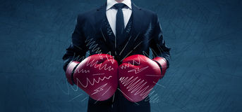 Power of business boxing Stock Photos