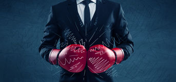 Power of business boxing Stock Photography