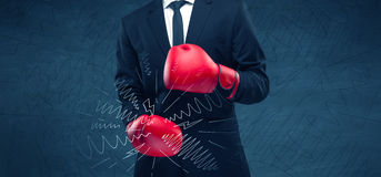Power of business boxing Royalty Free Stock Photo