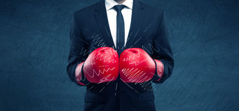 Power of business boxing Royalty Free Stock Photography