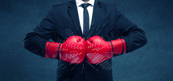 Power of business boxing Royalty Free Stock Photos